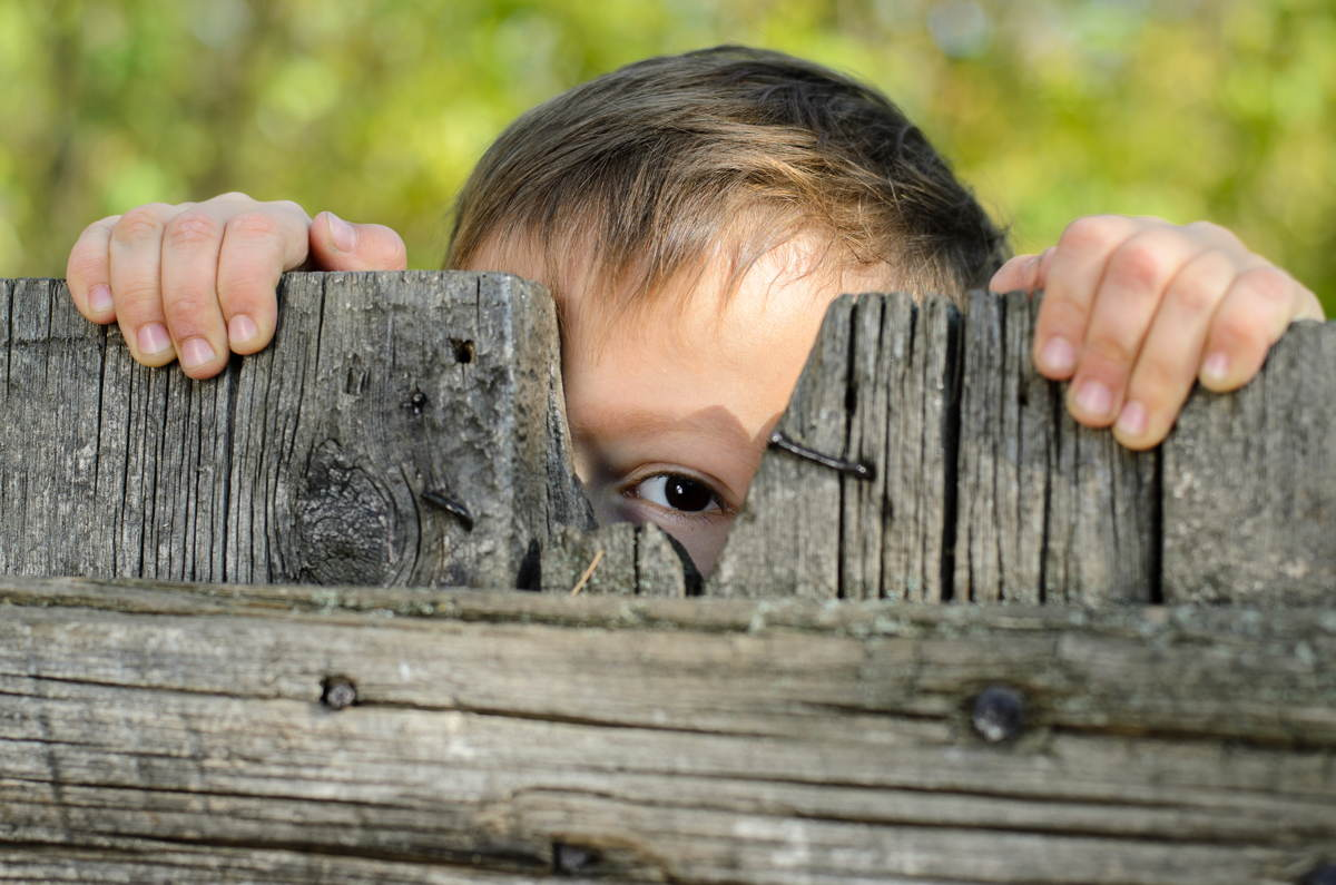 Boy Watching from Behind Fence